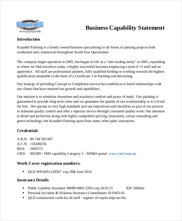 8 capability statement examples samples business capability example reheart Image collections