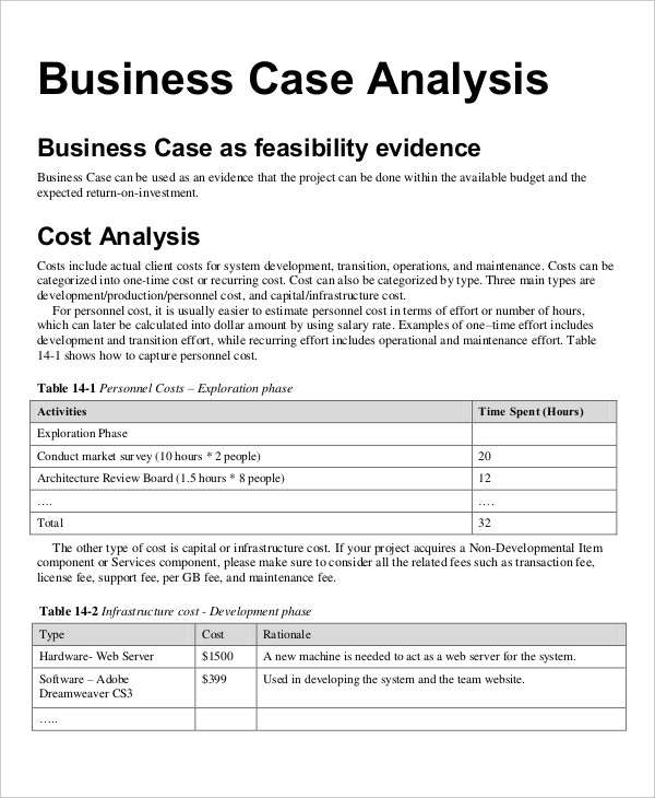 business case financial