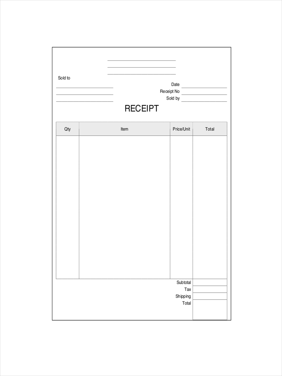 Receipt Examples Samples - Shopping receipt template