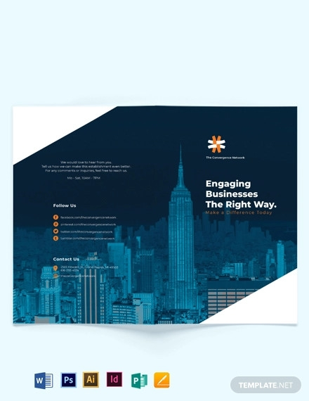business company profile bi fold brochure template