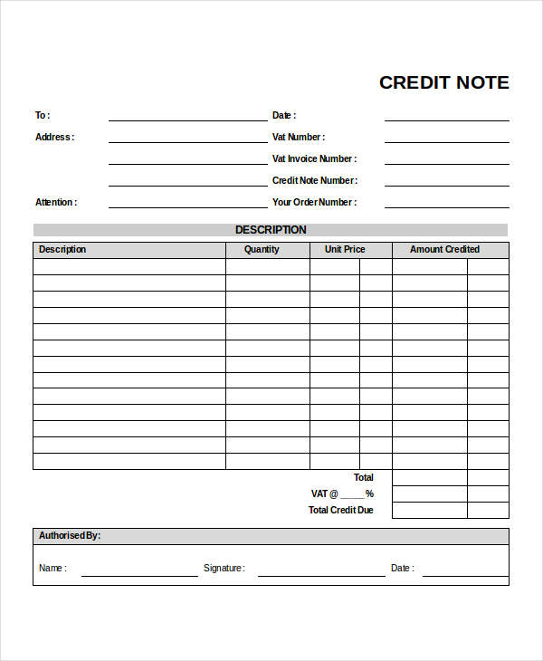 Business Credit Note