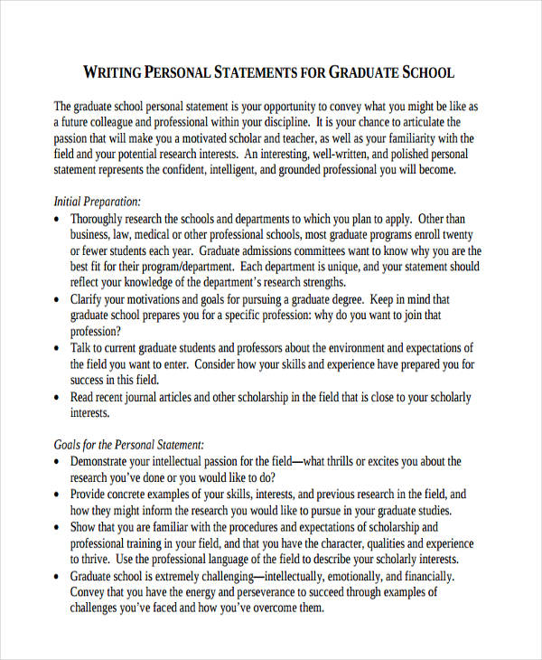 Graduate School Personal Statement Examples Samples