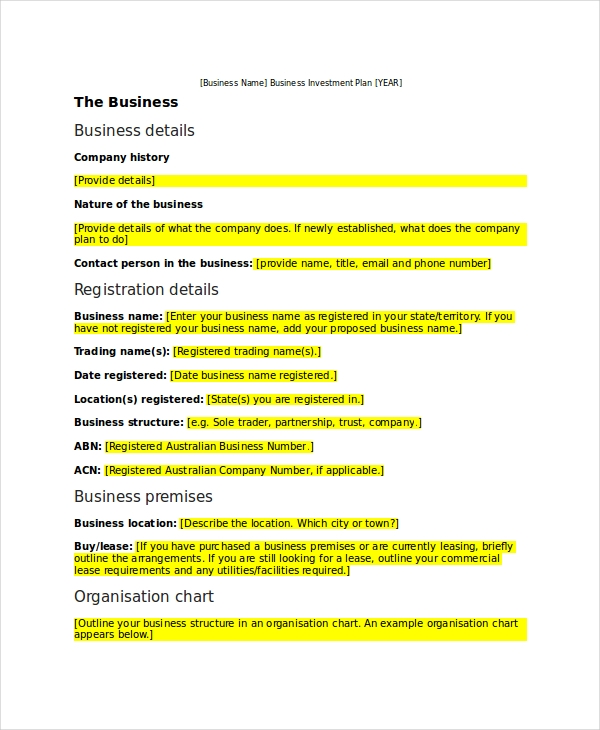 business investment plan