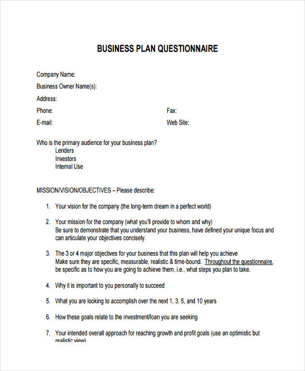 business plan questionnaire