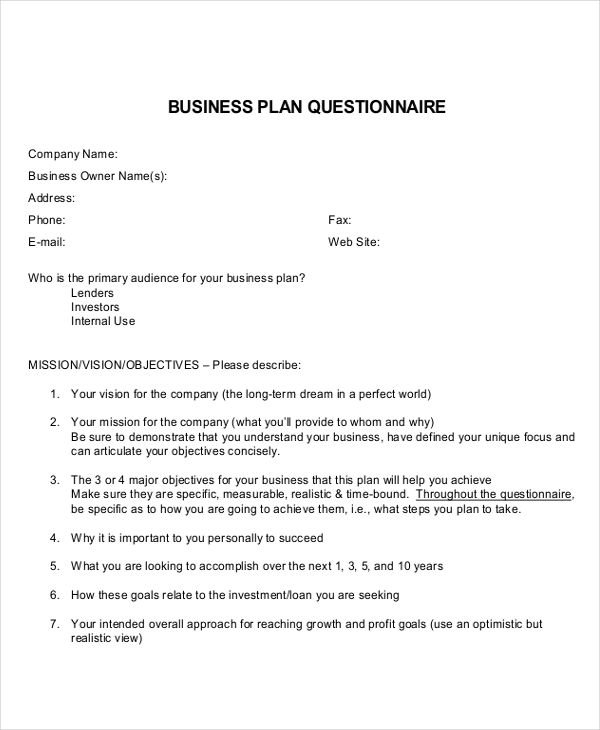 business plan questionnaire2