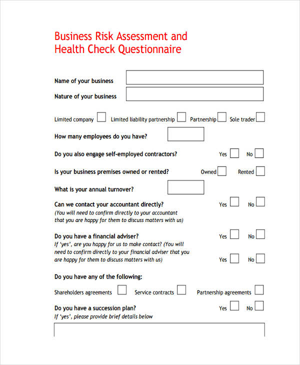 9 examples of risk assessment questionnaires