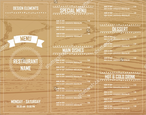 Cafe Menu Layout