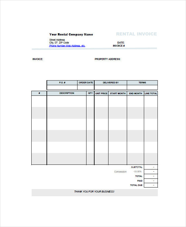 car rent invoice