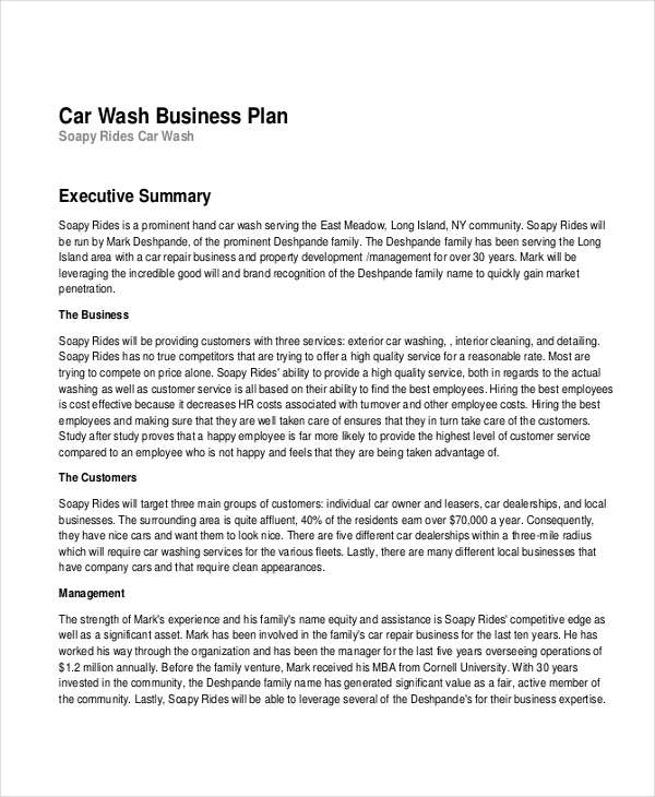 car wash business plan