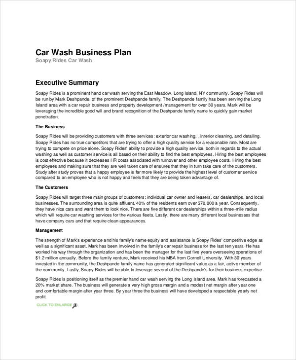 car wash business sample