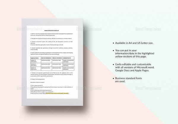 checklist hiring employees template
