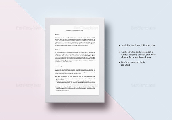 checklist home based employee template to edit