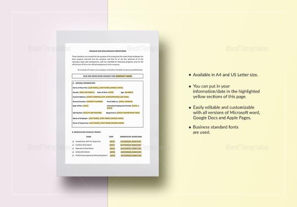 checklist new employee orientation template