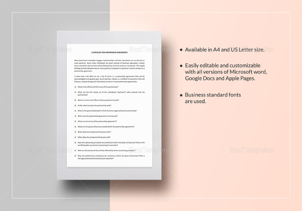checklist partnership agreement template1