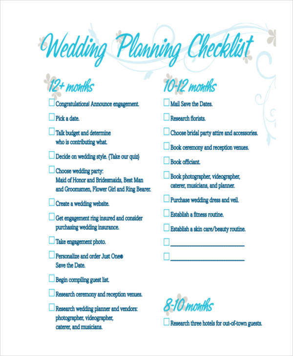 8+ Wedding Plan Examples, Samples