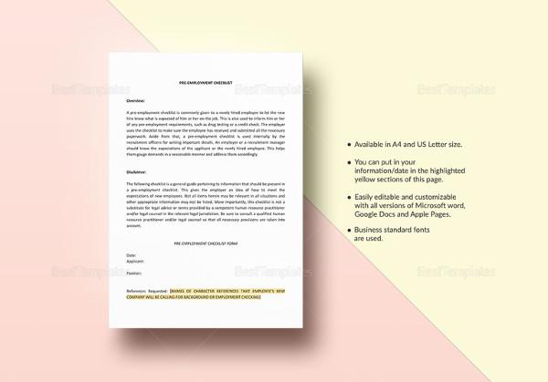 checklist pre employment template to print1