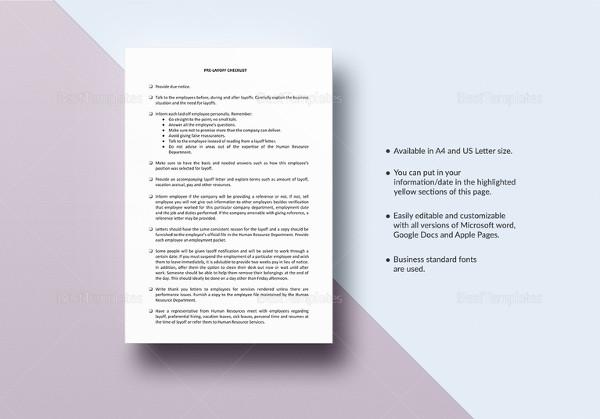 checklist pre layoff template