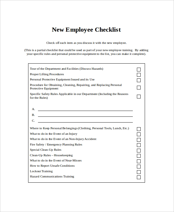 checklist for new employees