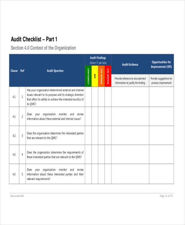 8+ Examples of Audit Checklists