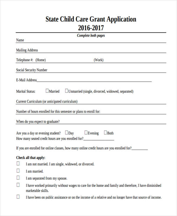 child care grant application