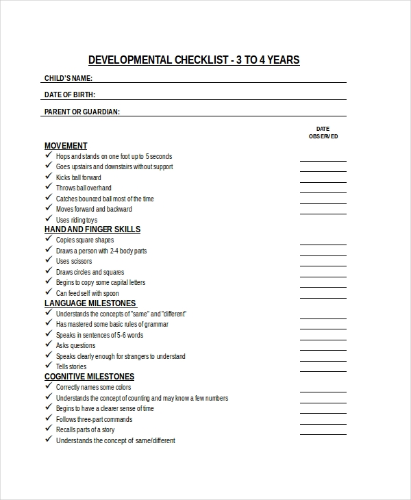 child development checklist