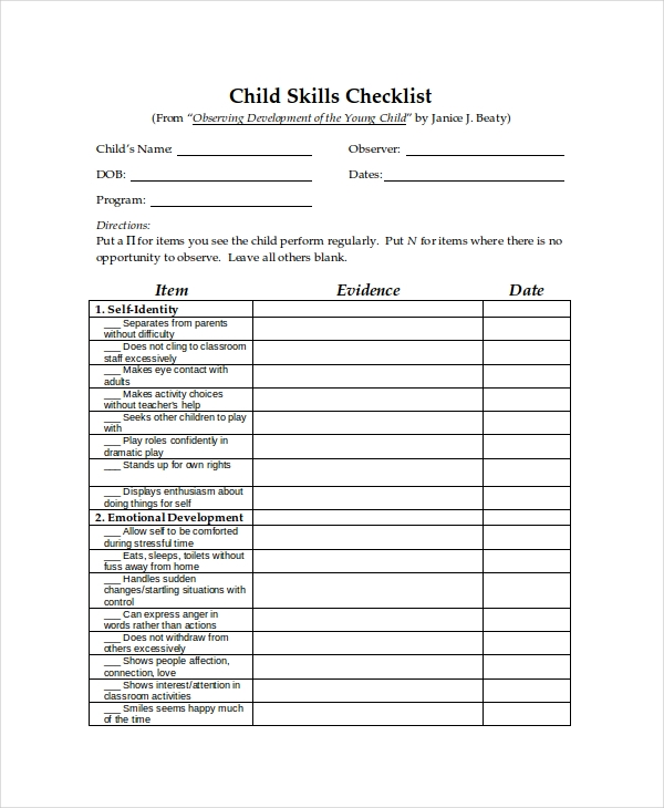 child skills sample