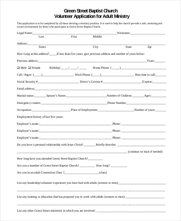 Church-Volunteer Sample Application Form For A Of Ministry on for upng, renew a passport, for business, bridge 2rwanda, auto loan, blank job, high school,