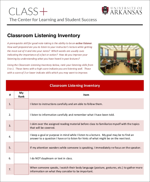 classroom listening inventory sample3