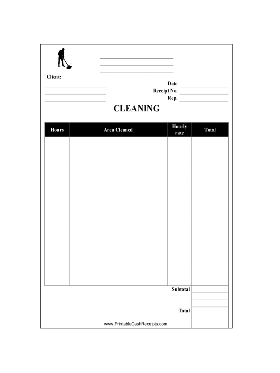 cleaning service receipt