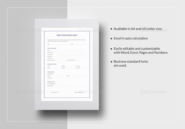13 Examples of Client Information Sheets