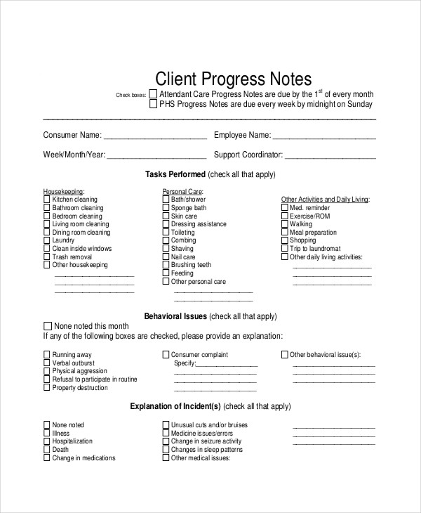 client progress note