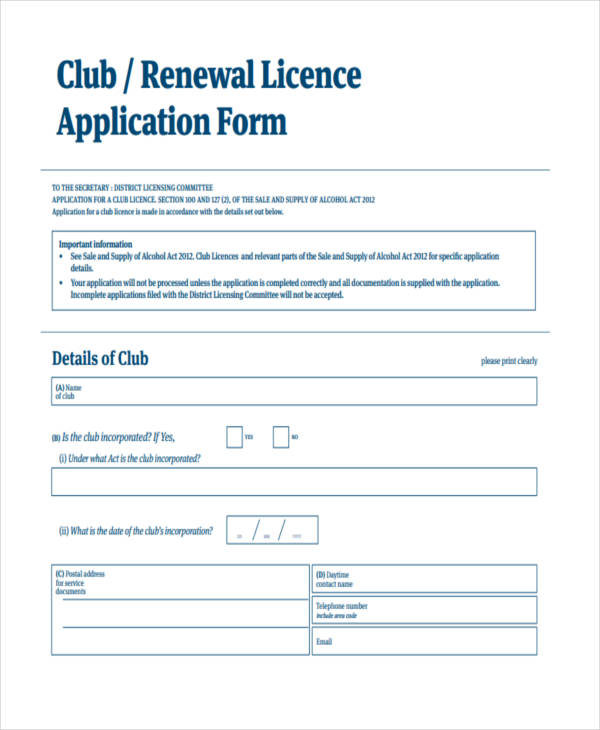 club licence application