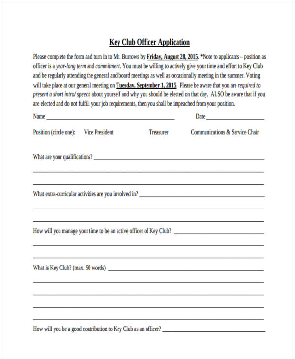 club officer application