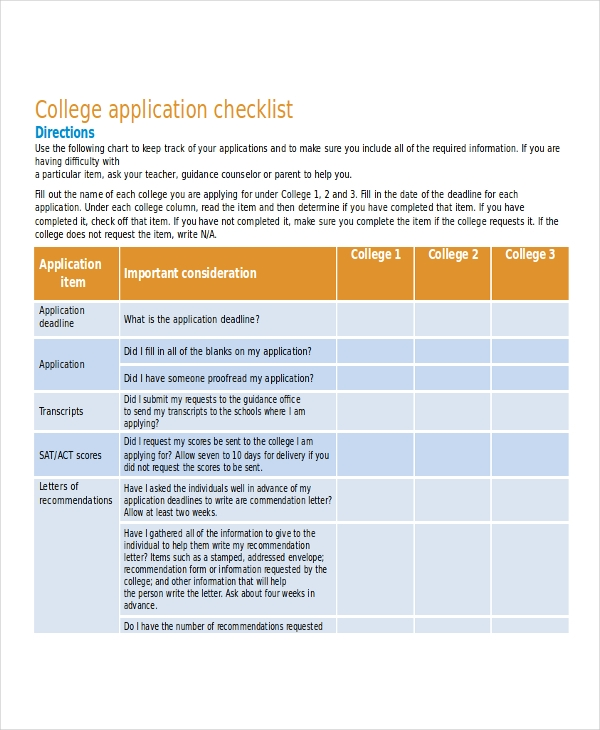 Lovely Sample College Checklist Ideas  Resume Ideas  BayaarInfo