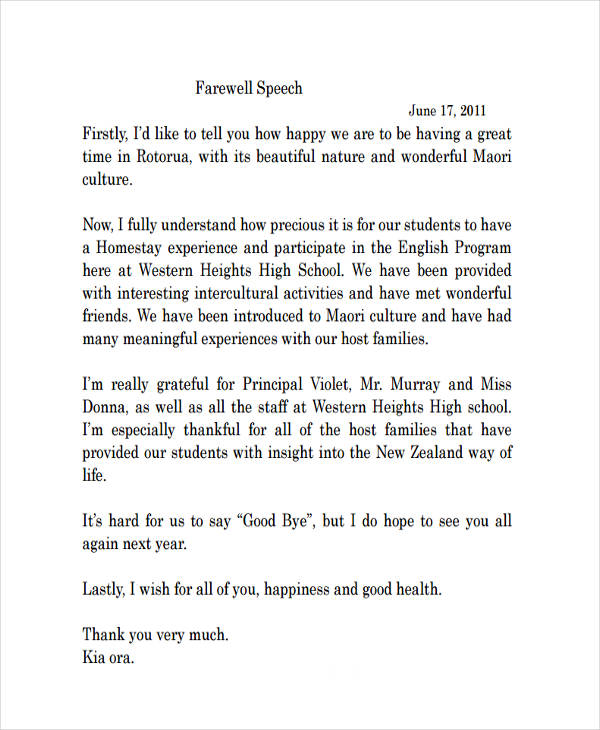 High School Farewell Speech. 6. Farewell Speech (School