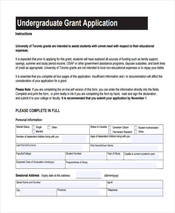 college grant application