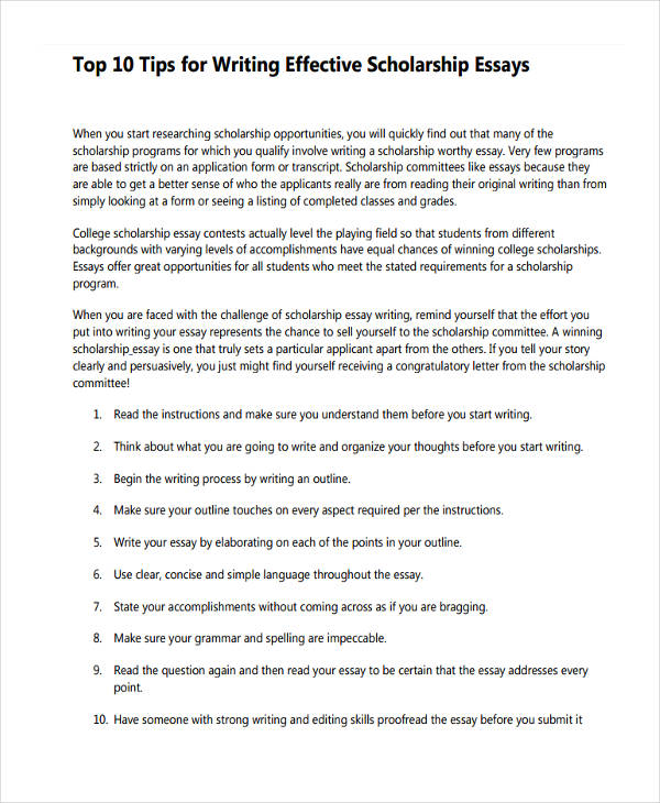 essay writing examples college scholarship essay