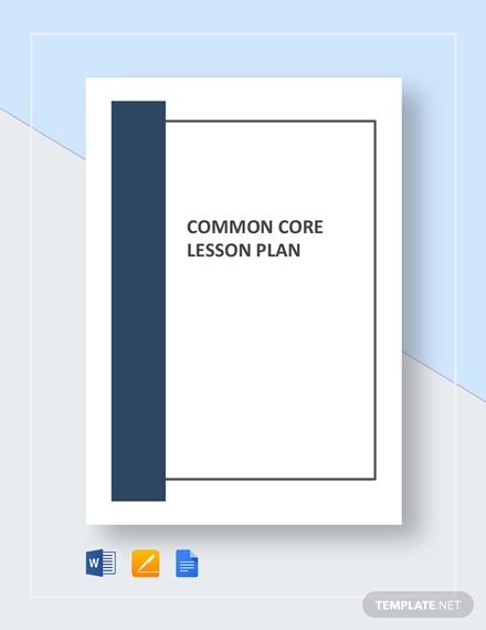 common core lesson plan template