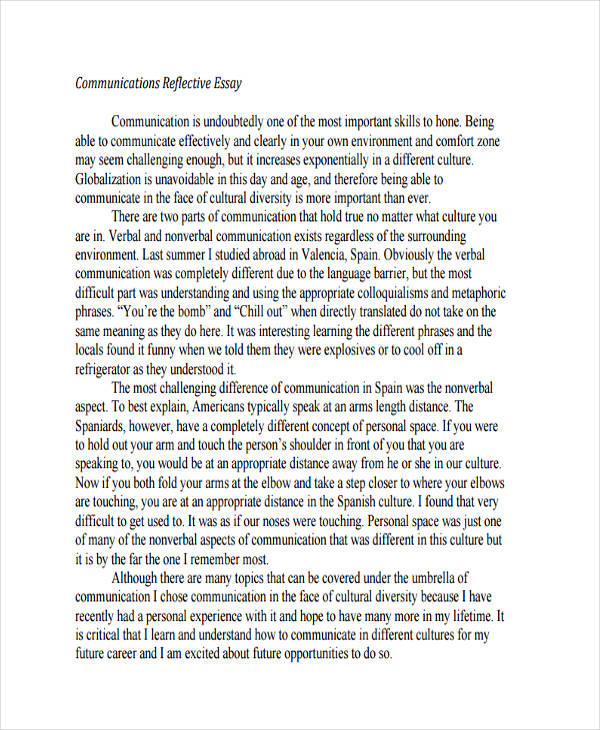 reflection english essay example Some typical reflection essay topics include: a real-life experience, an imagined experience, a special object or place, a person who had an influence on you, or something you have watched or read if you are writing a reflective essay as part of an academic exercise, chances are your tutor will ask you to.