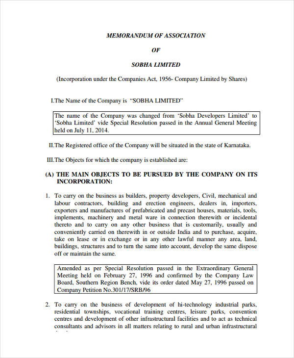 memorandum company law Business law memorandum of association concepts - learn business law starting from company law, principle of separate legal existence, the corporate veil, liabilities and rights of promoters, memorandum of association concepts, articles of association, shares, directors, winding up of a company, company meetings, various laws and acts, law of.
