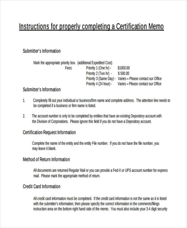 company certification memo