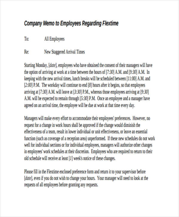 company memo to employees