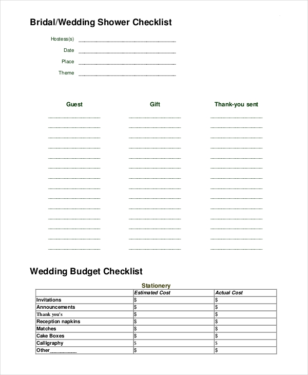 Complete Wedding Checklist: FREE 10+ Wedding Checklist Examples & Samples In Word