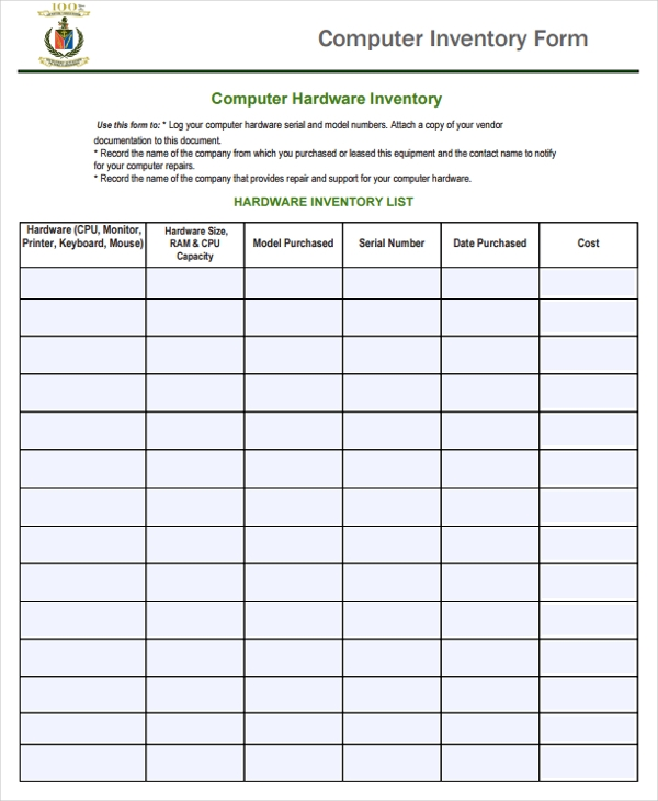 21 Sample Inventories – Sample of Inventory List