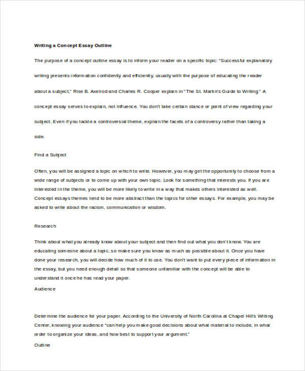 write concept essay Here are a few guidelines to keep in mind when writing a definition essay part 1 of 3: choosing the right word 1: choose an abstract word with a complex meaning a simple word that refers to a concrete word will not give you much to write about, but a complex word that refers to an abstract concept provides more.