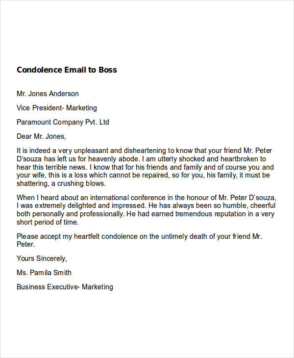 Condolence Email To Boss  Formal Letter Of Condolence