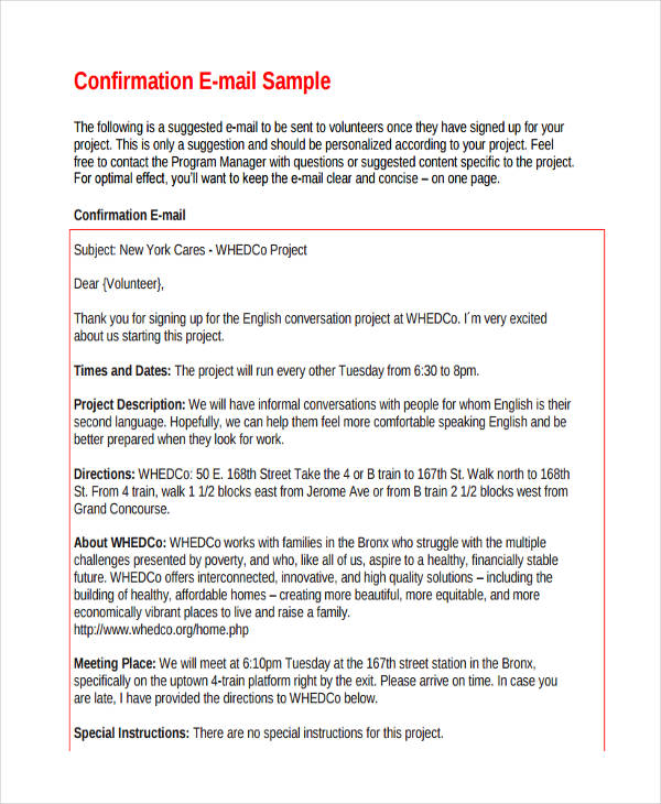 Confirmation Email Examples  Samples