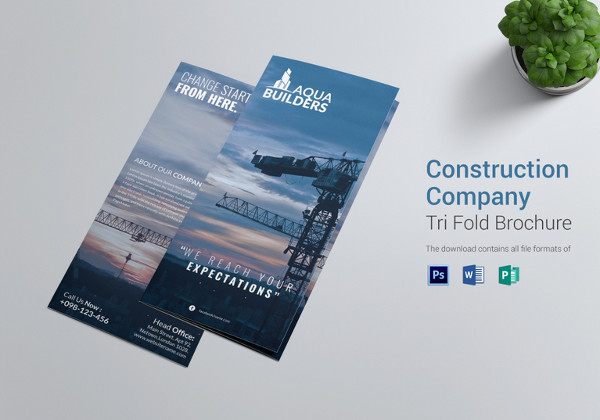 construction company tri fold brochure template