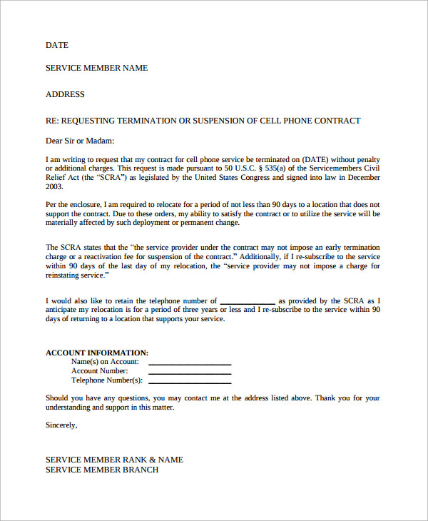contract termination request letter