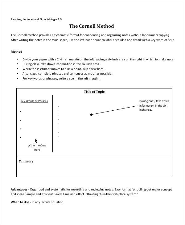 cornell note for business